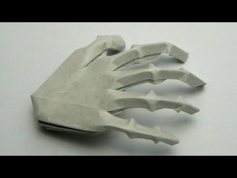 Origami Hand Skeleton (Jeremy Shafer) видео в хорошем качестве как сделать скелет оригами как сделать оригами руку скелета